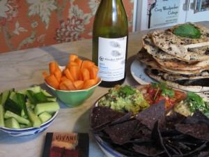 Voluntary Simplicity shown by local wine, delicious homegrown and homemade food