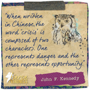 John F. Kennedy Crisis Quote with Owl (Fierce Kindness)