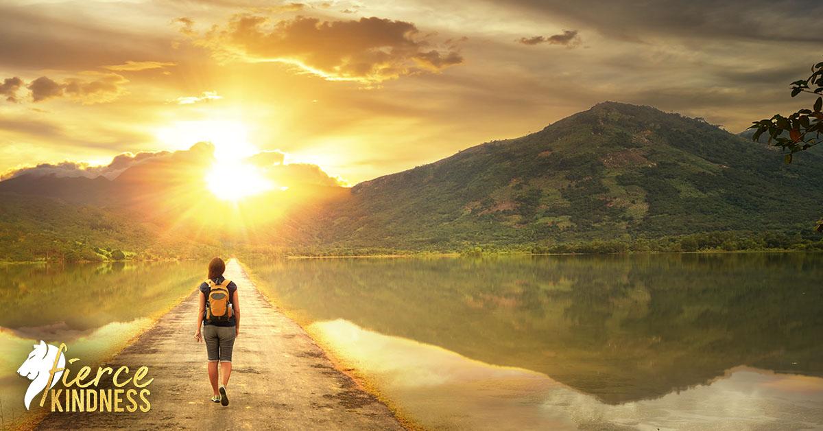 Woman experiencing Liminality going on Journey