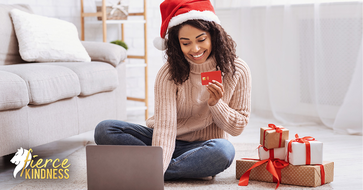 Woman online shopping for holiday gift ideas during COVID