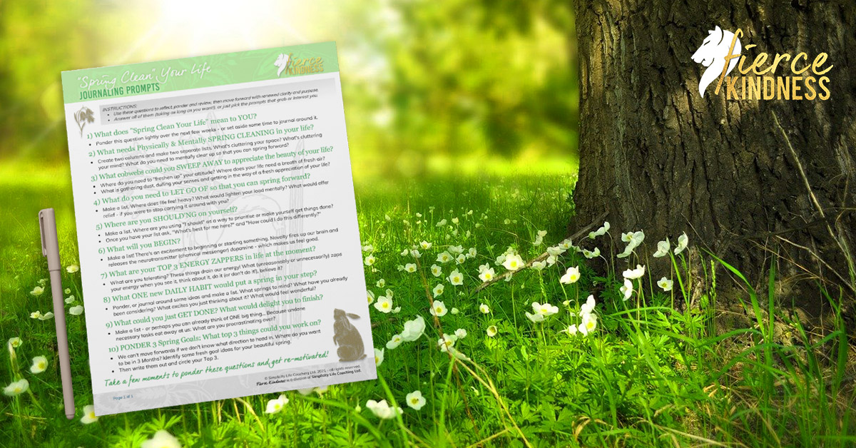 Spring Journal Prompts against flowery background with tree