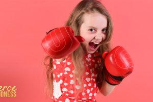 Girl boxing for International Women's Day