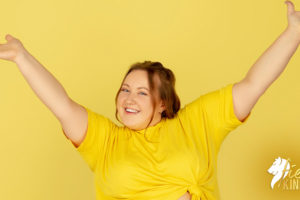 Beautiful Model on Yellow Background