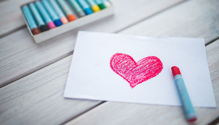 Heart drawn on paper for loving yourself