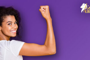 Strong Woman against a purple background